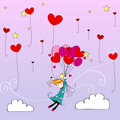 Cute girl flying away on heartshaped balloons Stock Images