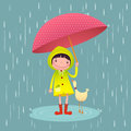 Cute girl and friends with red umbrella in rainy season Royalty Free Stock Photo