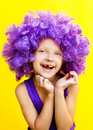 image photo : Cute girl in funny wig