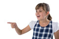 Cute girl gesturing against white background Royalty Free Stock Photo