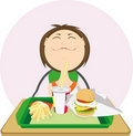 Cute girl with a hamburger. Stock Photo