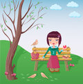 Cute girl having lunch in the park illustration of a stylish teenager healthy on a bench under a tree and feeding birds Stock Images