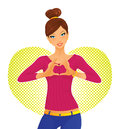 Cute girl and heart symbol Stock Images