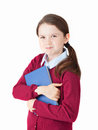 Cute girl and her favourite book in a shirt wearing a dark red vest Stock Photography
