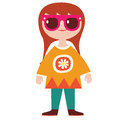 Cute girl hippie character vector illustration Royalty Free Stock Image