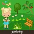 Cute girl holding flower in garden