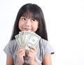 Cute girl holding money with white background Stock Image