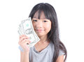 Cute girl holding money with white background Stock Photography