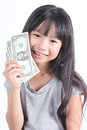 Cute girl holding money with white background Royalty Free Stock Photo