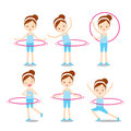 Cute girl with hula hoop twirling actions set Royalty Free Stock Photo