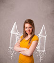 Cute girl with jet pack rocket drawing illustration young Stock Photos