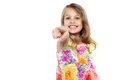 Cute girl kid pointing at you Royalty Free Stock Photography