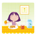 Cute girl- kitchen Stock Photos