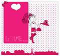 Cute girl in love in paris card vector Stock Photo