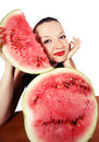 Cute girl loves watermelon Stock Images