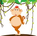 Cute girl monkey of illustration Stock Image