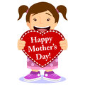Cute Girl With Mothers Day Card Stock Images