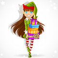 Cute girl the New Years elf Santas assistant Stock Image
