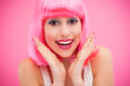 Cute girl with pink hair Stock Photography