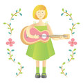 Cute girl play guitar illustration with style and white background Royalty Free Stock Photos