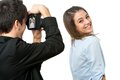 Cute girl posing in front of photographer. Royalty Free Stock Photos