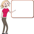 Cute girl presentation cartoon illustration of a young blond woman in slacks giving a or lecture pointing to a blank white board Stock Images