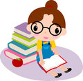 Cute girl reading book Royalty Free Stock Images