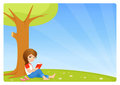 Cute girl reading a book in the park or garden Royalty Free Stock Images