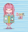 Cute girl reading book of pirates cartoon stripes background