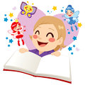 Cute girl reading fairy tale little having fun a fantasy book Royalty Free Stock Photo