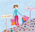 Cute girl with shopping bags Royalty Free Stock Photos