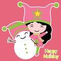Cute girl and snowman cartoon, Xmas postcard, wallpaper, and greeting card