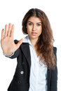 Cute girl with stop hand isolated on white background Stock Photo