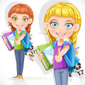 Cute girl student with a backpack and a textbook on white background Royalty Free Stock Image
