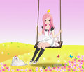 Cute girl on the swing Stock Images