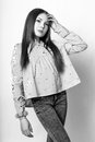Cute girl teenage with long hair posing studio nature portrait. Black and white Royalty Free Stock Photo
