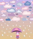 Cute girl under umbrella Royalty Free Stock Photos