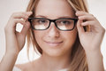 Cute girl wearing glasses Stock Photo