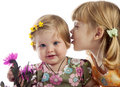 Cute girl whispering something to her sister Royalty Free Stock Photography