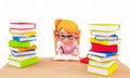 Cute girl writing on the books Royalty Free Stock Photo