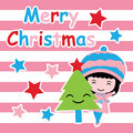 Cute girl, Xmas tree and stars on pink striped background vector cartoon, Xmas postcard, wallpaper, and greeting card Royalty Free Stock Photo