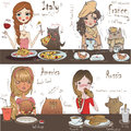 Cute girls with cats Royalty Free Stock Photo