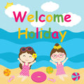 Cute girls are happy on holiday cartoon, Summer postcard, wallpaper, and greeting card