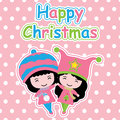 Cute girls on polka dot background cartoon, Xmas postcard, wallpaper, and greeting card