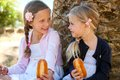 Cute girls sitting and eating sandwich portrait of two kids afternoon outdoors Royalty Free Stock Image