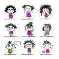 Cute girls sketch for your design this is file of eps format Royalty Free Stock Photography