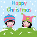 Cute girls on snow background cartoon, Xmas postcard, wallpaper, and greeting card