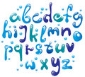 Cute glossy blue alphabet Stock Photography