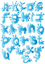 Cute glossy blue water alphabet Stock Images