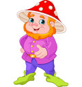 Cute gnome illustration of with mushroom hat Stock Images